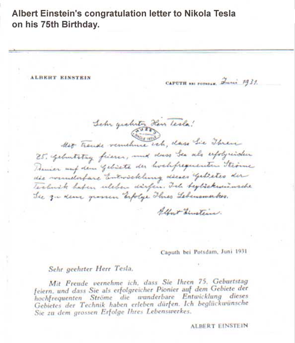 Albert Einstein's congratulation letter to Nikola Tesla on his 75th birthday