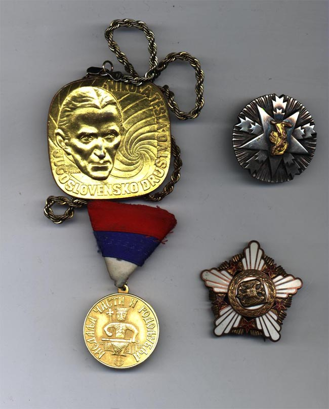 Medals for Dr. Ljubo Vujovic, President, Tesla Memorial Society of New York