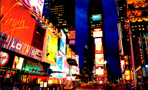 time square new york at night. Above: Times Square at night,