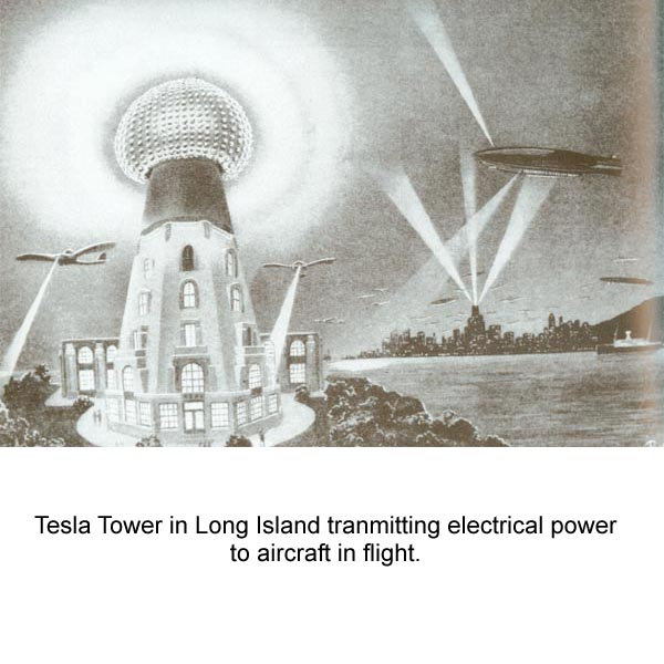 Another Wardenclyffe tower, this version with much larger multi-pane windows, a distant background cityscape w/skyscraper radiating three huge  glowing beams up and out, exotic monoplanes each with a glowing ray  connecting to ground, and a dirigible with one ray to ground, a second  ray projecting upwards, the distant city sky is clogged with tiny clouds  which perhaps are flying machines.