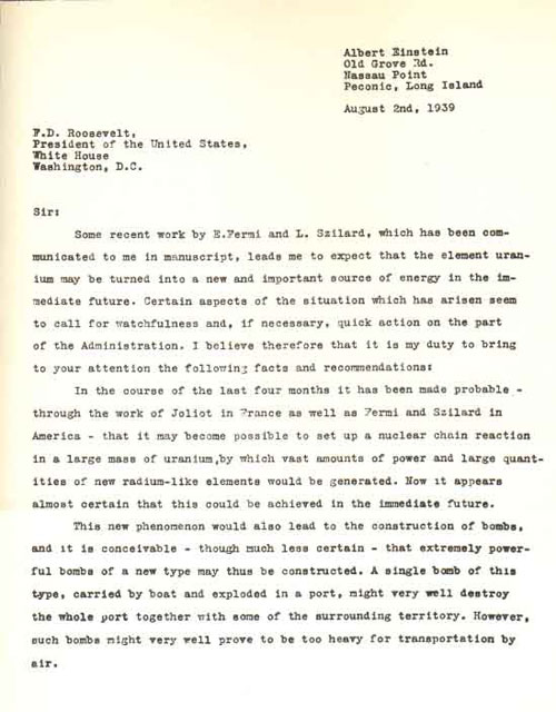Einstein's letter to Franklin D. Roosevelt