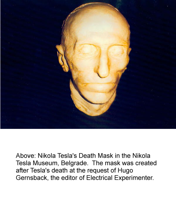 tesla memorial society of new york  nikola tesla death mask