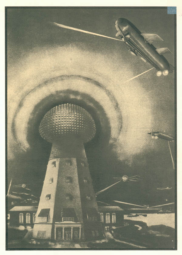 Wardenclyffe machine: Octagonal conical  tower with windows 8 storeys tall, topped by gigantic distorted metal  hemisphere covered with small glowing bumps in square array, surrounded  by a multi-layer glow-discharge hundreds of feet across.  In the  background are biplanes, dirigibles, and what appears to be a floating  rectangular sky platform, all which exhibit glowing searchlight beams  directed downwards.