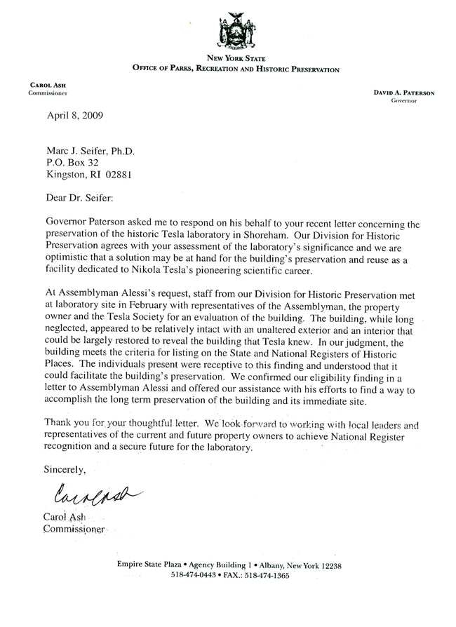 Letter From Governor Patterson